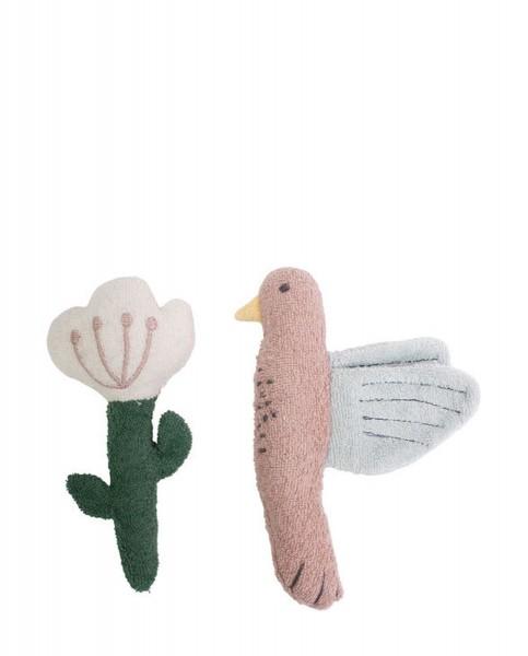 SEBRA Frottee-Rassel, 2 Stk., Vogel/Blume